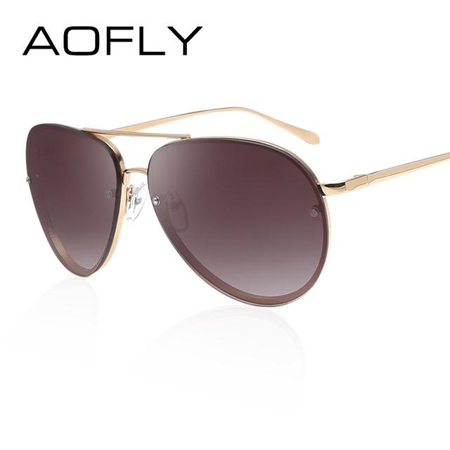 Aofly moda gafas de sol hombres mujeres diseñador de la marca vintage retro gafas de sol de doble vigas de recubrimiento espejo gafas de sol con caja de la caja
