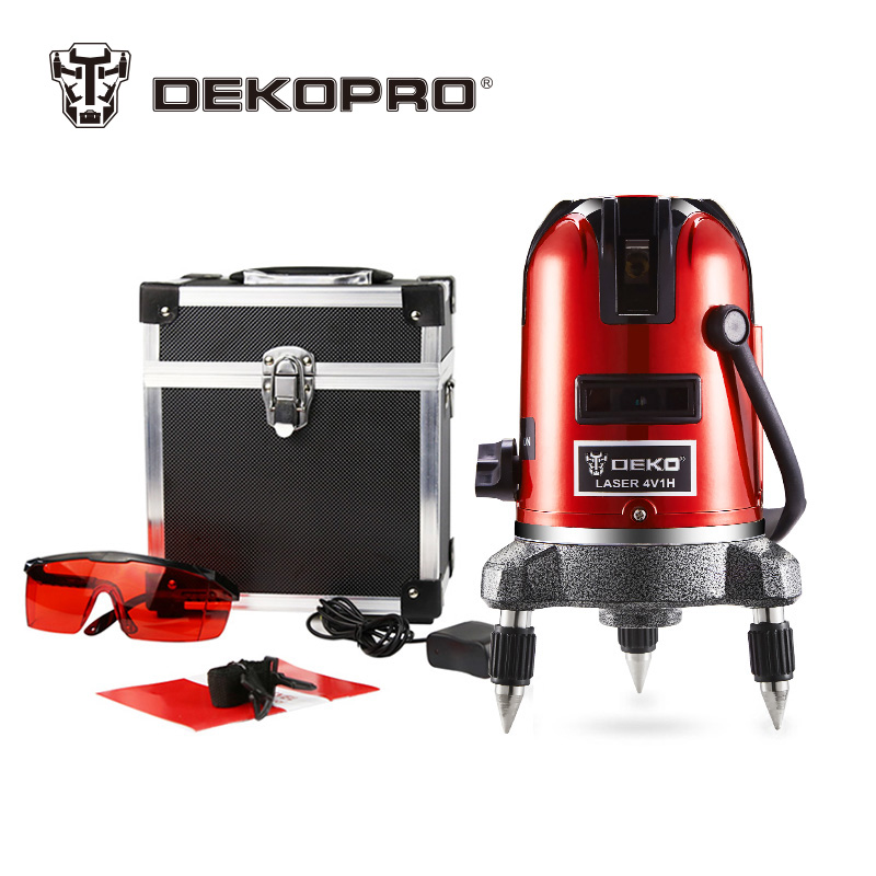DEKOPRO 5 Lines 6 Points Laser Level 360 Vertical & Horizontal Rotary Cross Laser Line Leveling Can Be Used w/ Outdoor Receiver a8827d 360 degree self leveling 3 lines 3 points rotary horizontal vertical red laser levels cross laser line laser highlights