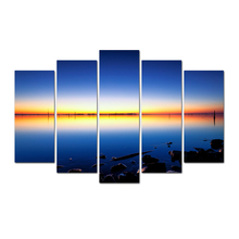 Free Shipping 5 Piece Canvas Poster Sea Sunup Pictures Canvas Art Wall Paintings For Home Decor Spray Painting Abooly