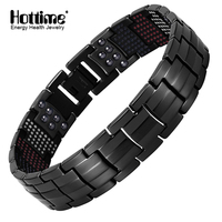 Hottime 591PCS Energy Stone Fashion Titanium Steel Magnetic Bracelets Bangles Never Fade Black Gun Plated Bracelet