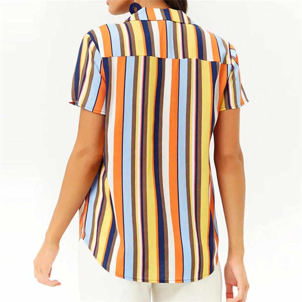 Женские Гавайские рубашки для отпуска седельная печать многоцветные полосы короткий рукав блузка Повседневная Блузка шикарные топы # P2