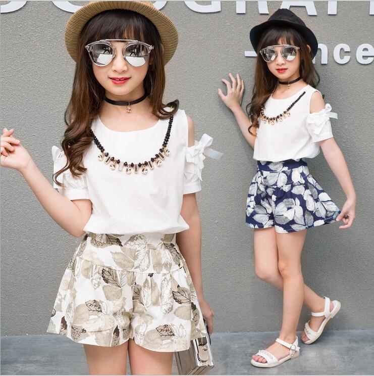 где купить Summer Sets For Girls Cotton & Linen Clothes Sets Short-Puff Sleeve Off Shoulder Tops&Floral Pants&Necklace 3 PCS Suit Gals Sets по лучшей цене