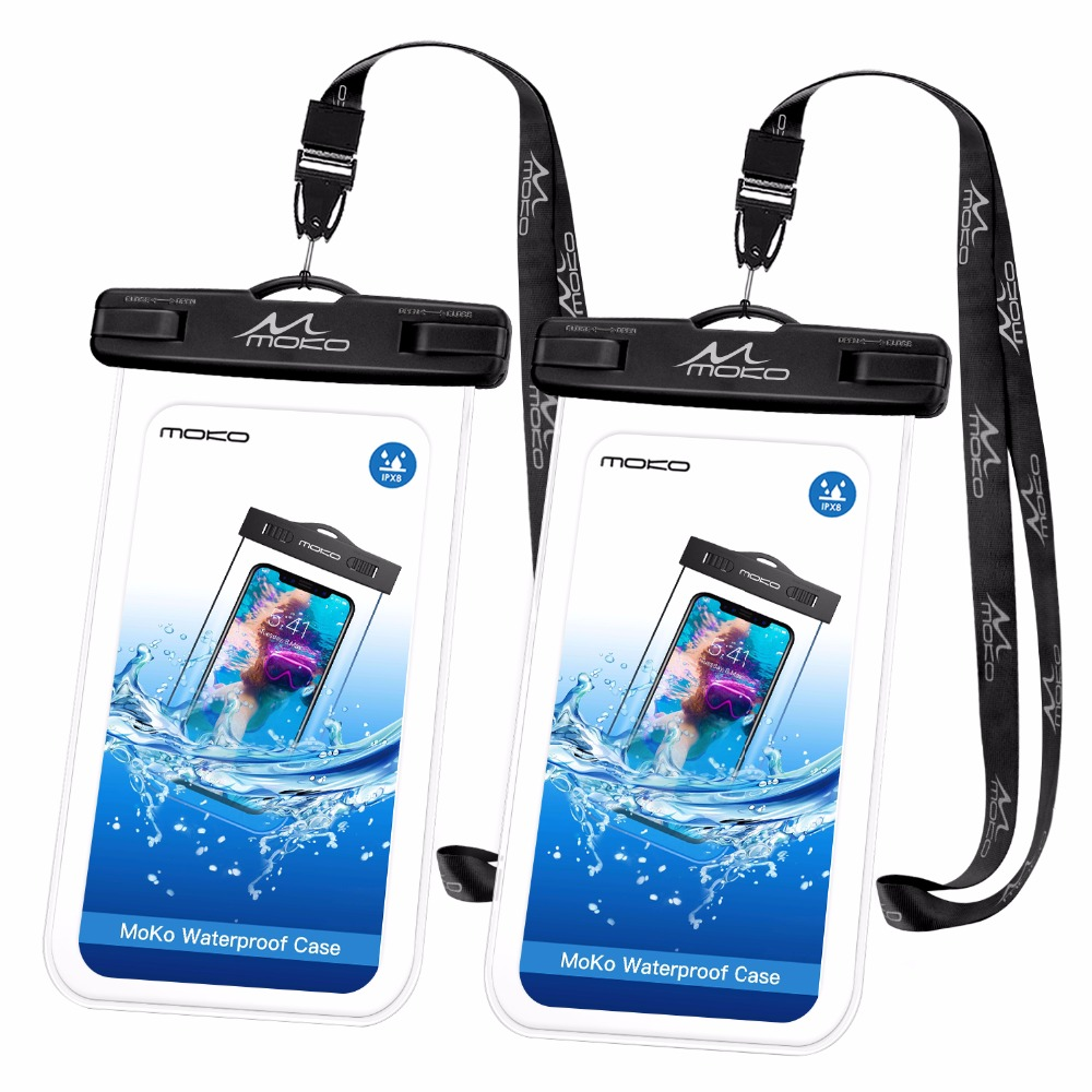 MoKo Waterproof Phone Pouch [2 Pack], Underwater Phone Case Dry Bag With Lanyard For IPhone X/Xs/Xr/Xs Max, 8/7/6s Plus,
