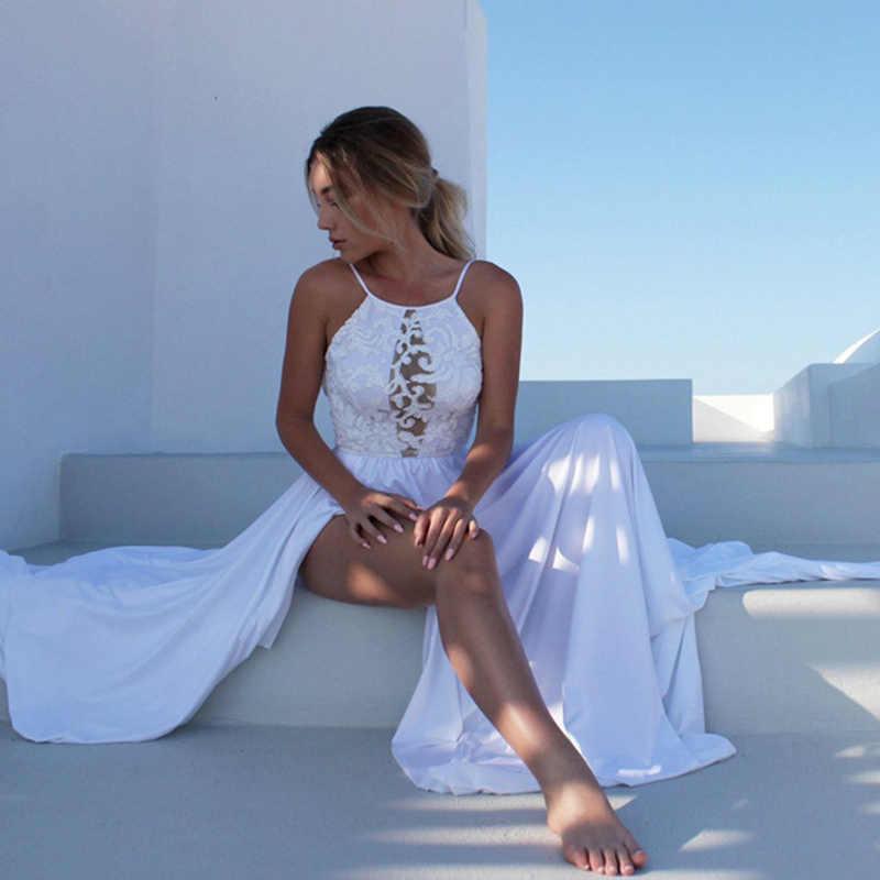 Популярное белое летнее платье на молнии, длинные платья, элегантные вечерние платья, повседневное сексуальное кружевное платье на бретельках, женские пляжные платья