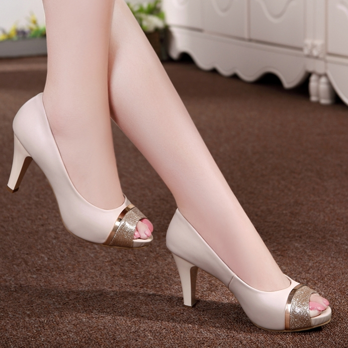 ФОТО Free Shipping Women Fashion Peep-toe High Heels Women's Open-toe Summer Shoe Genuine Leather Pumps Size 35~40