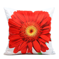 40 Cm X 40 Cm Red African Chrysanthemum Cushion Covers Decorative Throw Pillows Cover 3D 2