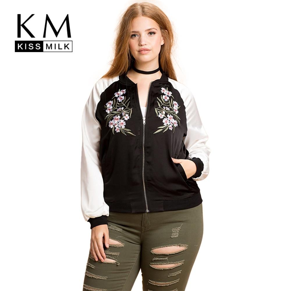 Kissmilk Plus Size Fashion Women Clothing Casual Preppy Style Embroidery Print Outwear Basic Jacket Zipper Big Size Jacket Coat