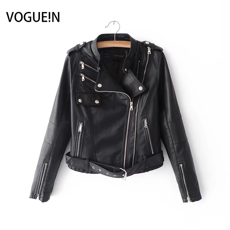 VOGUEIN New Womens Zippers Black Faux   Leather   Jackets Bomber Motorcycle Outerwear Coat with Belt Wholesale