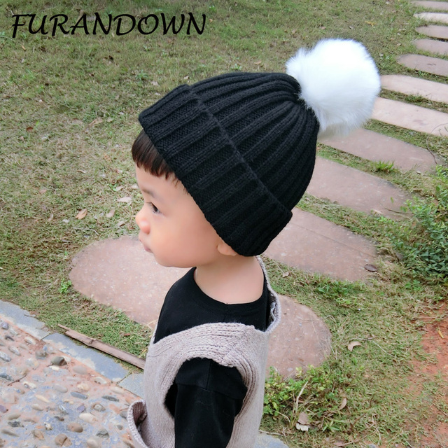 Knitted Baby Beanies 2017 Fashion Faux Fur pom poms Hat For Children Kids  Hats Girls Boys Winter Autumn 011697b388b