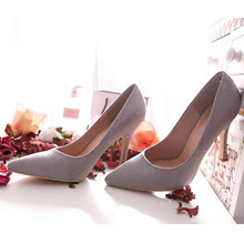 Plus Size 40 Genuine Leather Pumps Work Office Dress pointed Toe High Heels Women Shoes 2016 White Gray  Bottoms 9 colors ZK1.0