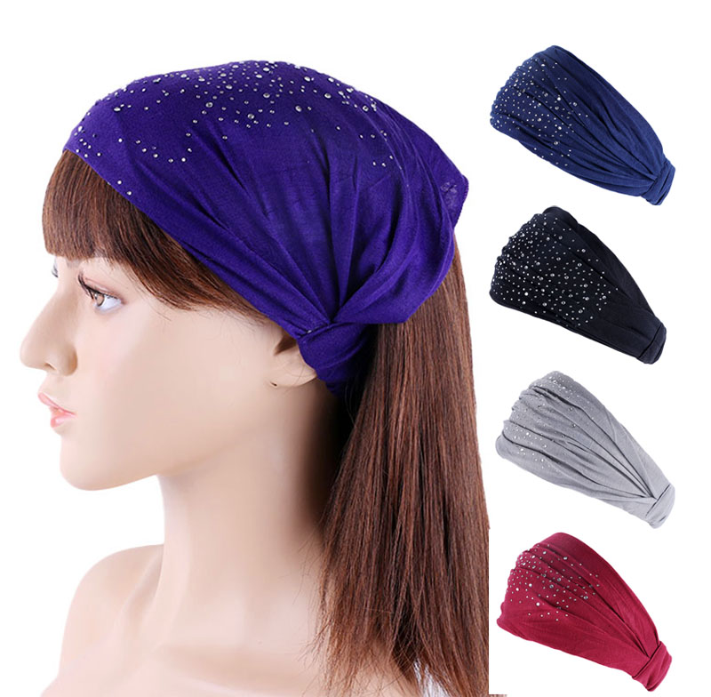 @1  Женщины горный хрусталь эластичный ободок для волос повязка на голову спорт йога повязка на голову о ✔