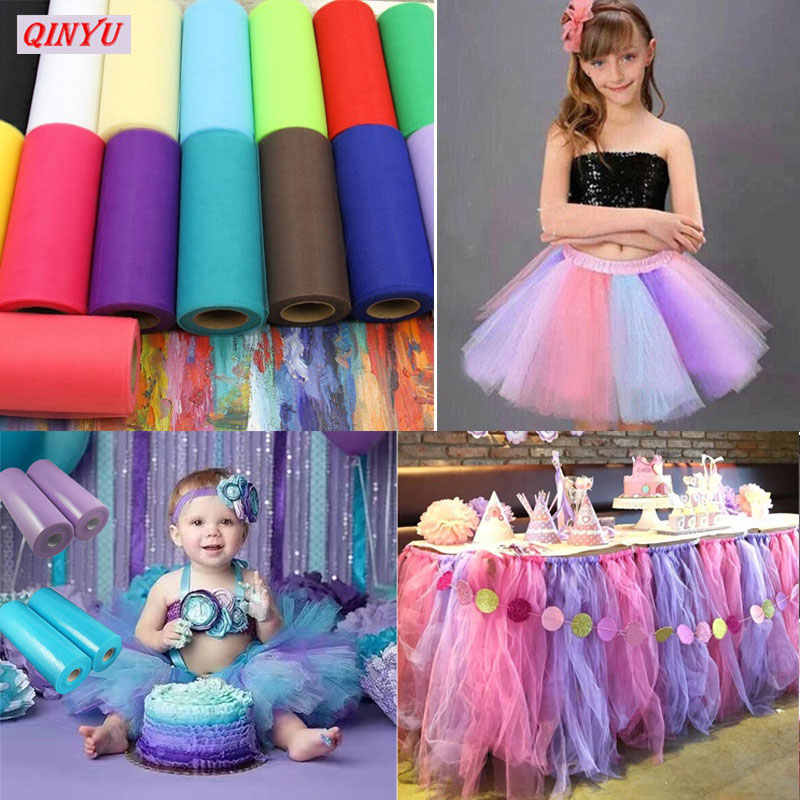Tulle Roll 15cmx22m Tutu Fabric Spool Diy Party Birthday Gift Wrap Wedding Decoration Party Favors Supplies Tulle Fabric 6Z