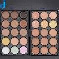 Profesión de 15 Colores de Maquillaje Crema Base Set Maquiagem Fundación Corrector Contorno Cara Polvo Paleta 1 UNID Madera Cepillo 5 elige
