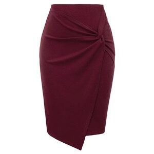 Image 1 - Женская мини юбка, осенняя Асимметричная облегающая юбка карандаш длиной до колена, для офиса
