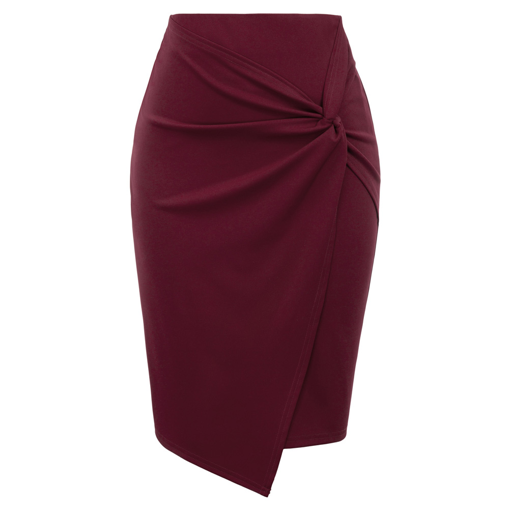 Ladies Women Mini Skirts Autumn Fall Asymmetrical Wrap Front Knee Length Stretch Pencil Bodycon Skirt Jupe Femme Office OL Skirt
