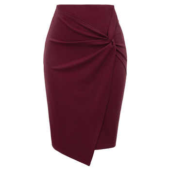 ladies Women mini skirts Autumn fall Asymmetrical Wrap Front knee length Stretch pencil Bodycon Skirt jupe femme office OL skirt - DISCOUNT ITEM  35% OFF All Category