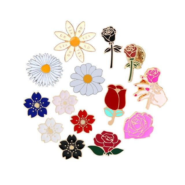 14 stile di Fascino della Rosa Dello Smalto Spille Spilla Fiore Fiore di Ciliegio Margherita Spille Per Le Donne Giubbotti Distintivo Accessori Dei Monili di Coppia