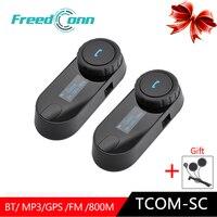 2 шт. FreedConn TCOM SC Bluetooth гарнитура мотоциклетный шлем домофон Handfree переговорные колонки домофон системы с ЖК дисплей FM