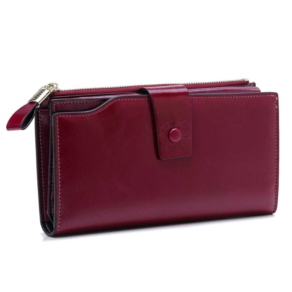 Модный женский кошелек из натуральной кожи, Женский карман для сотового телефона, длинные женские кошельки с застежкой, масло, воск, кожа, Женский кошелек для монет, держатель для карт - Цвет: purple
