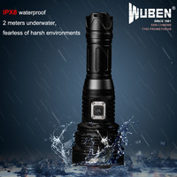 Super Bright LED flashlight Rechargeable USB Cree XHP70 LED 3200 Lumens Torch Reach 454M Light + 26650 Battery (WUBEN T102)