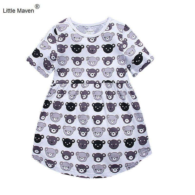 2017 Little Maven Girl Summer Dress For 1-6 Years Short Sleeve Cute Cartoon Bear Cotton Casual Dresses Kids Clothing KF163 atmega16a chip core avr scm development board learning board test board programmer with pins