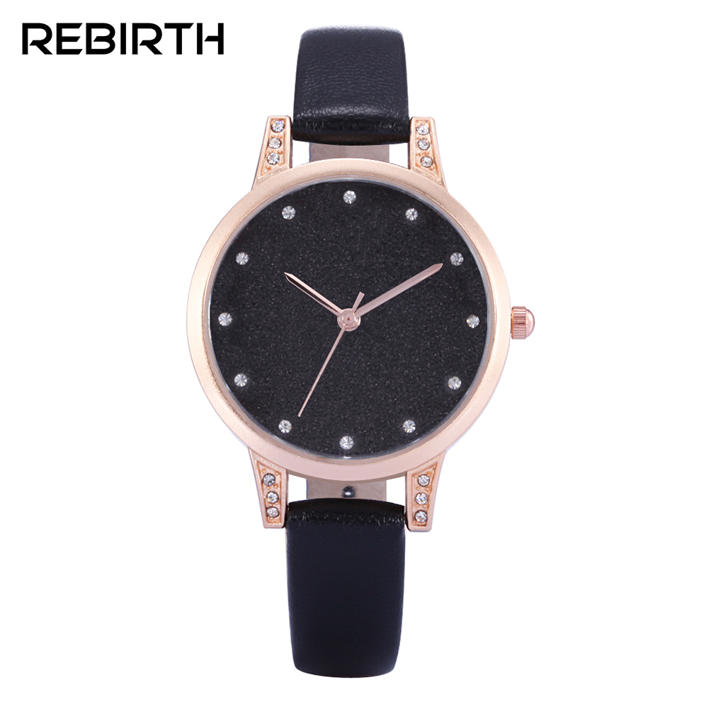 Elegant Design Bling Diamond Sands Dial Women Watches Fashion Female Dress Watch REBIRTH Luxury Brand Leather Quartz Clock Gifts цена и фото