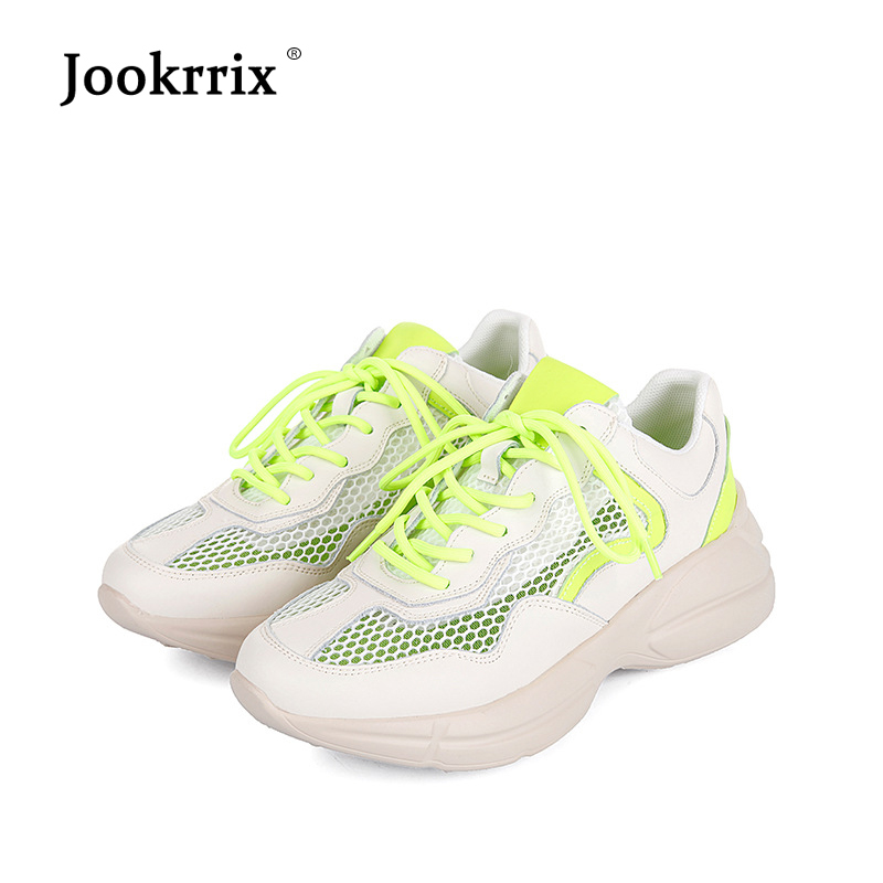 Jookrrix Autumn Fashion Brand Adult Real Leather Lady Casual White Shoe Women Mesh Sneaker Mesh Leisure Platform Shoe Breathable