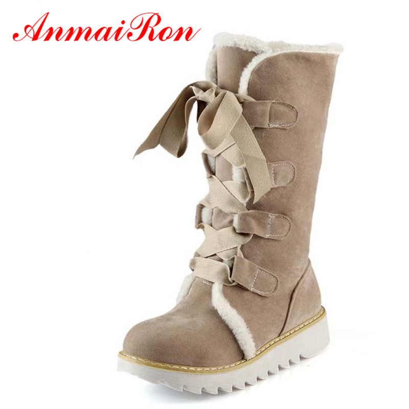 ANMAIRON New Hot Sale Half Knee Boots Fashion Thick Fur Warm Winter Shoes Vintage Lace Up Platform Outdoor Snow Boots for Women 1pc fashion women men unisex comfortable knit cotton winter warm ski beanie wool roman knight helmet outdoor cap 2016 new hot