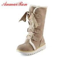 ANMAIRON Nowa Gorąca Sprzedaż Połowa Kozaki Buty Moda Grube Futro Ciepłe zimowe Buty W Stylu Vintage Lace Up Platforma buty Na Zewnątrz Śnieg dla Kobiet