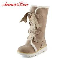 ANMAIRON Nueva Venta Caliente Mitad Rodilla Botas de Moda de Piel Gruesa Caliente Zapatos de invierno Lace Up Plataforma de La Vendimia Al Aire Libre Botas de Nieve para Las Mujeres