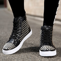 Men Motorcycle PU Leather Boots Students Lace Up  Rivets Ankle Boot for Man Hip Hop Shoes