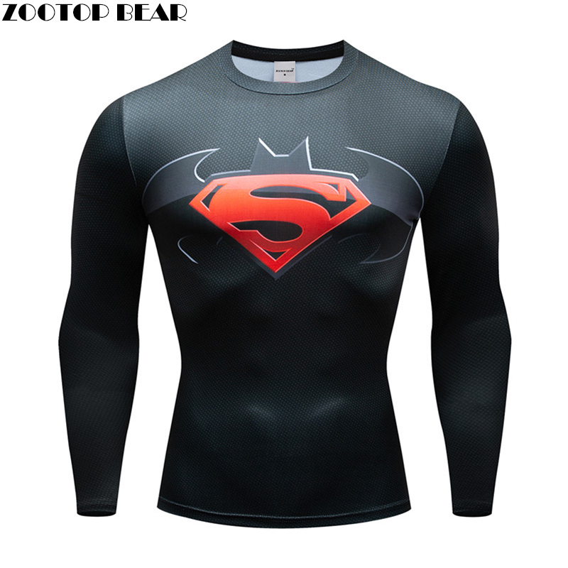 2019 Superman 3D Printed tshirt Compression Tights Men Fitness Running Shirt Breathable Long Sleeve Sport Gym Cycling Clothing