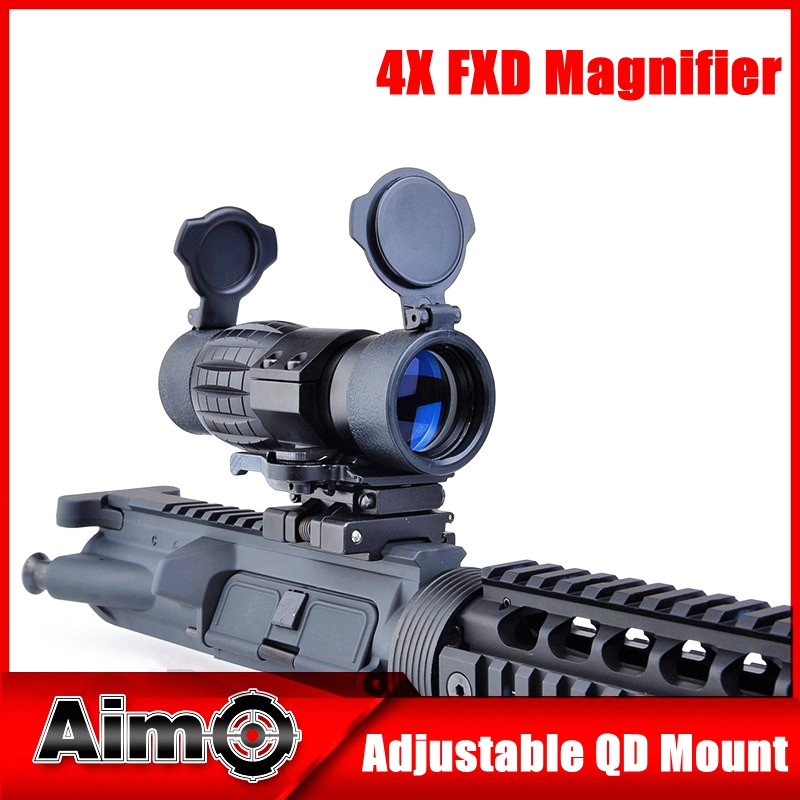 Tactical QD FTS 4x Magnifier Scope Optics Riflescope Fits Sight with Flip To Side Picatinny Weaver Rail Mount AO5338 free shipping 20mm rail tactical 4x magnifier quick flip scope w flip to side mount fit for holographic sight