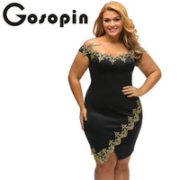 Gosopin Elegant Ladies Gold Lace Applique Black Off Shoulder Mini Dress Roupas Feminina Party Robes LC22715