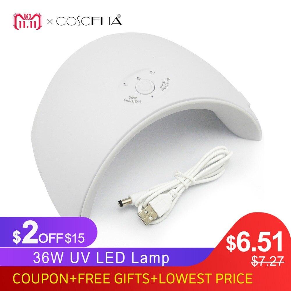 Nuevo 36 w UV lámpara Led secador para todo tipo de uñas de Gel 12 Led lámpara UV para S uñas máquina de curado 60 s/120 s temporizador conector USB