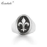 Поразительное кольцо Fluer-de-lis Lily, 2018 Новое высокое качество 925 пробы серебро и цирконий Pave модные украшения подарок для мужчин