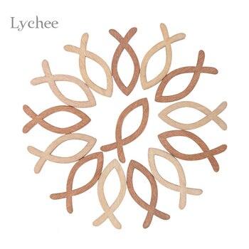 Lychee Life 18 unids/lote en blanco sin terminar de madera hueco peces suministros para manualidades láser corte de boda rústica de madera adornos de anillo