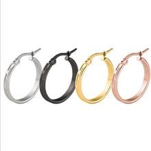 30mm Hot Sale Trendy Rose Gold Silver Color Ear Clip For Women Men Stainless Steel Hyperbole Stud Earrings Fashion Jewelry