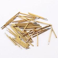 P50-B niquelado teste ponta de prova diâmetro 0.48mm agulha de detecção de mola eletrônica 100 unidades/pacote pinos pogo latão para ferramentas de teste em casa