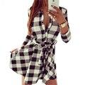 2015 Взрывов Досуг Старинные Платья Осень Женщины Плед Проверить Печати Весна Повседневная Рубашка Dress Mini Q0035
