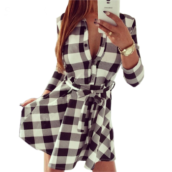 2015  Explosions Leisure Vintage Dresses Autumn Fall Women Plaid Check Print Spring Casual Shirt Dress Mini Q0035