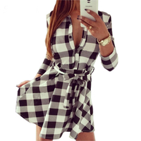 2015 Explosions Leisure Vintage Dresses Autumn Fall Women Plaid Check Print Spring Casual Shirt Dress Mini