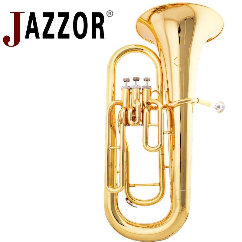 JAZZOR JZEU-300 Ouro Laca Euphonium Plano B instrumento De sopro de metal Profissional com bocal e caso