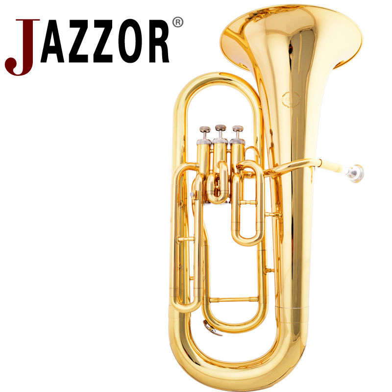 JAZZOR JZEU-300 Professional Euphonium B Flat Gold Lacquer Brass wind instrument with mouthpiece and case