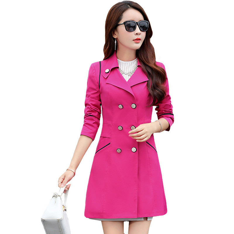 2019   Trench   Coat Casual 10 Colors Turn-down Collar Slim Double-breasted Long-sleeved Windbreaker Ladies Coat Plus Size 3XL L8