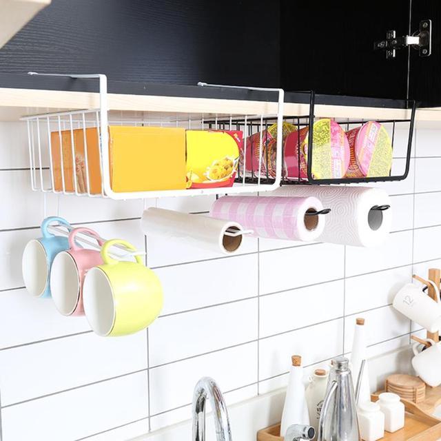 Kitchen Organizer Metal Hanging Closet Shelf Basket Cabinet Storage Rack  Hook Holder Paper Tissue Holder Storage