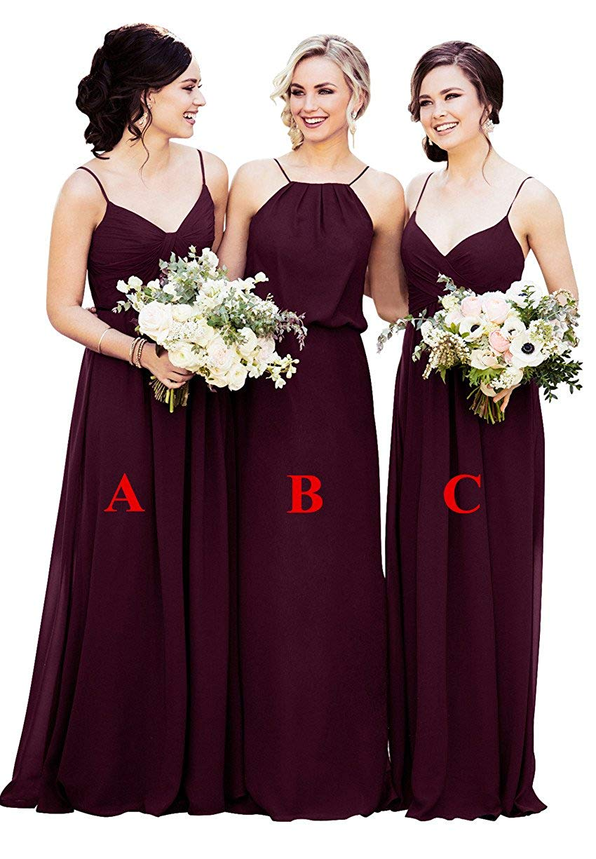 2019 New Design Women Chiffon Long   Bridesmaid     Dresses   Pleat Wedding Party   Dresses