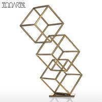 Tooarts Figurine Cube Abstract Ornament Electroplating Craft Home Decor Modern Style for Office Home Decoration Accessories