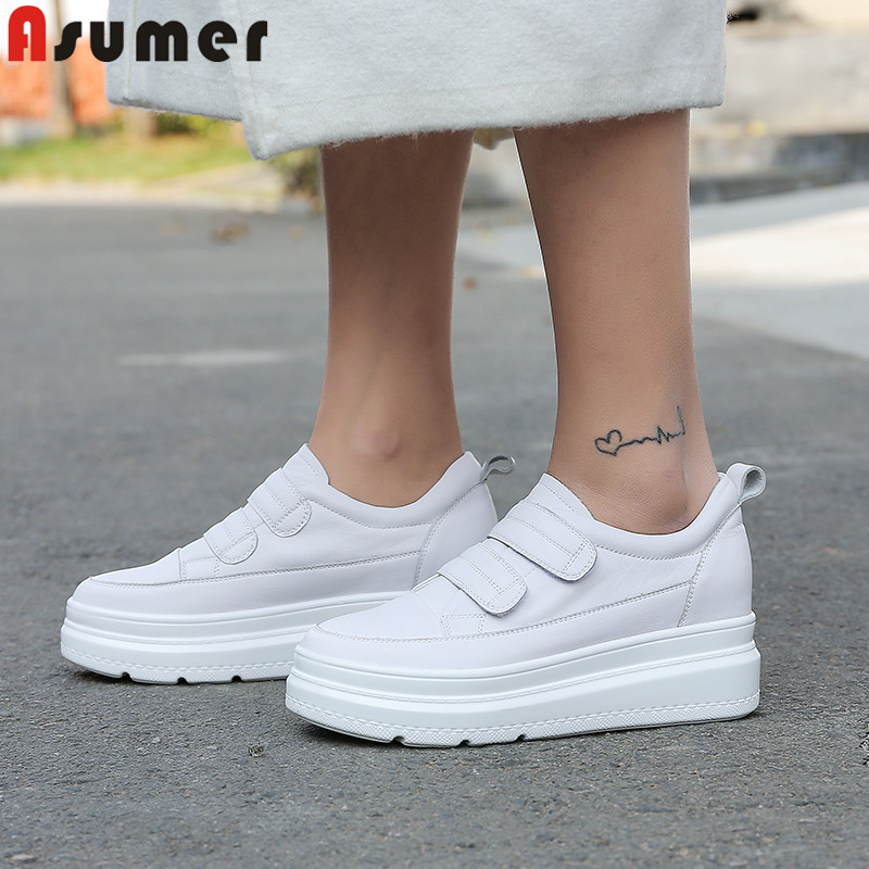 ASUMER 2020 Fashion Spring Autumn New Shoes Woman Round Toe Genuine Leather Shoes Women Platform Increased Internal Shoes Women