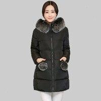 2017 Winter Jacket Women Cotton Coat Plus Size Fur Collar Hooded Parka Female Long Slim Quilted Jackets fashion warm coat